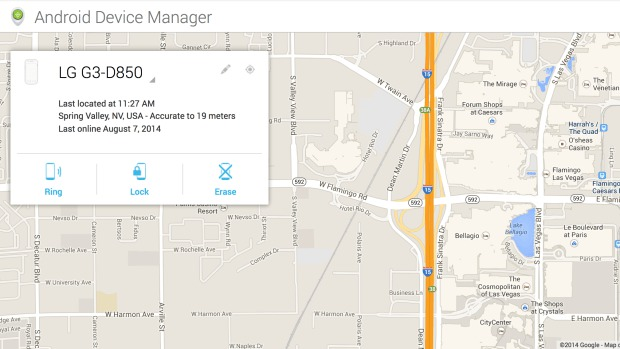Android Device Manager на LG G3