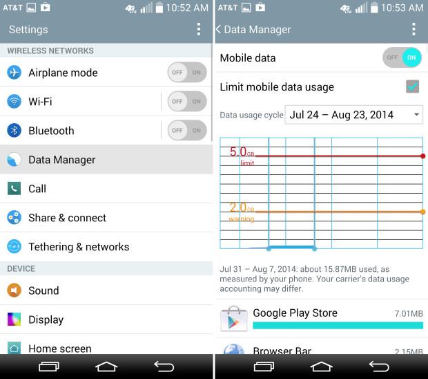 Mobile Data Limit для LG G3