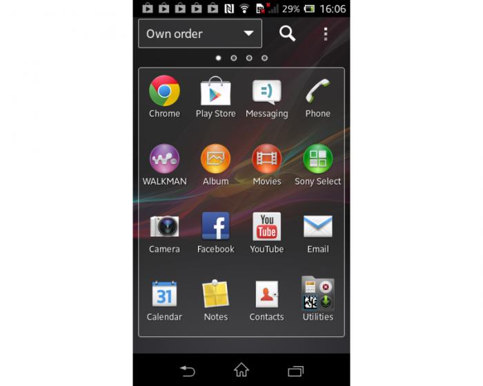 Интерфейс Sony Xperia L