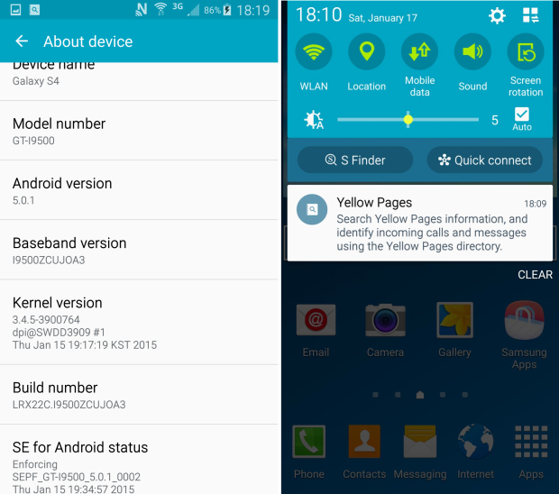Интерфейс Android 5.0 Lollipop для Galaxy S4