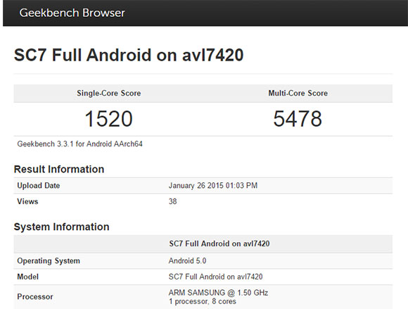Samsung Exynos 7420 на GeekBench 3