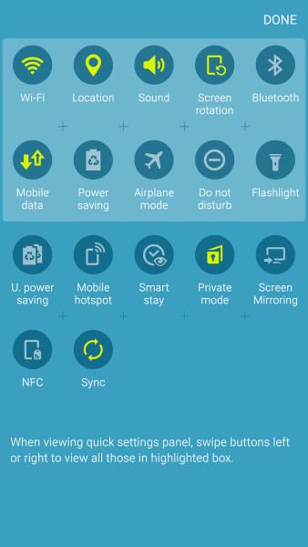Меню уведомлений Galaxy S6