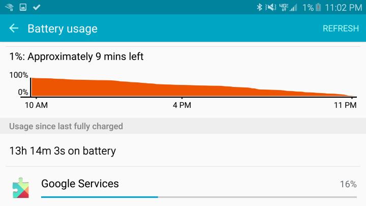 Автономная работа Galaxy S6 Edge