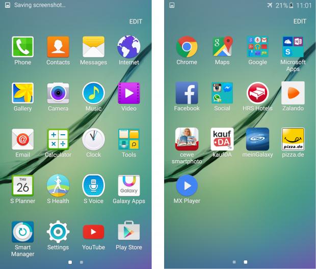 Предустановленные приложения Galaxy S6 Edge
