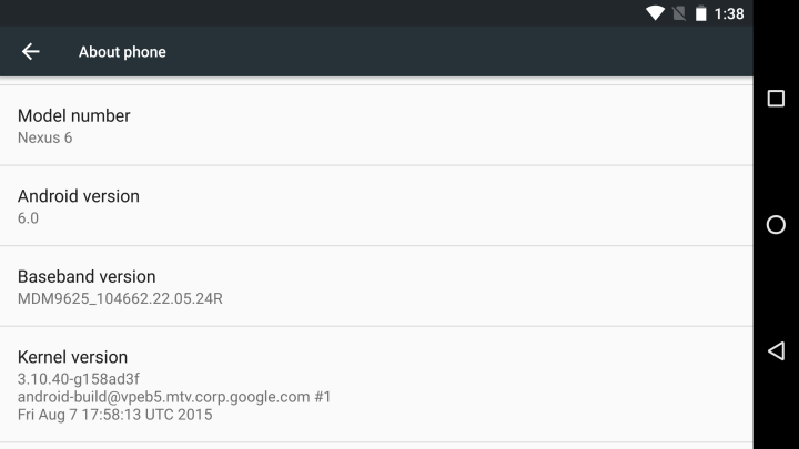 Android 6.0 Marshmallow на Nexus 6
