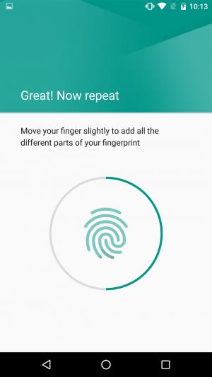 Скриншот приложения сканера отпечатков на Nexus 5X
